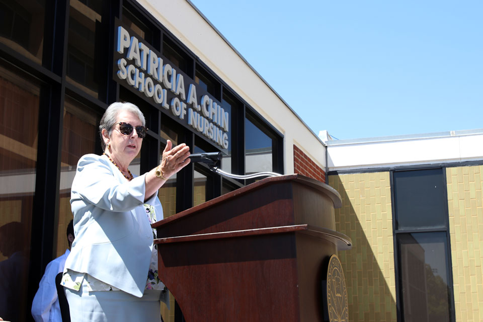 Patricia A. Chin speaks at the opening ceremony of the School of Nursing.