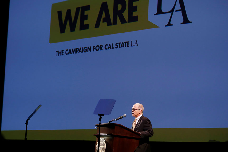 President Covino speaks at the We Are LA Campaign launch.