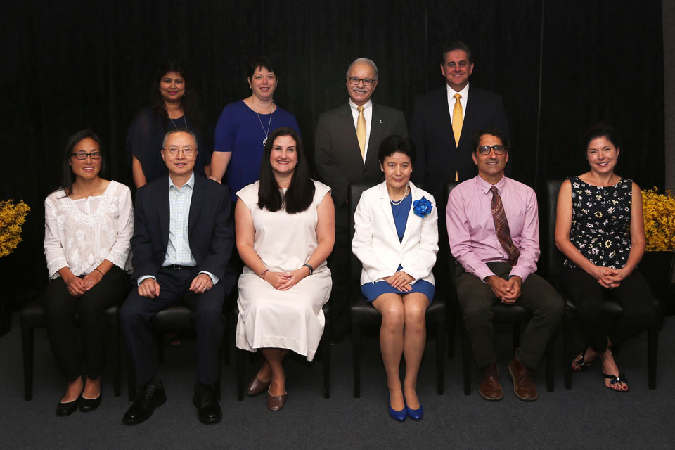 President Covino and Vice President Gomez with the Outstanding Professors of 2019.