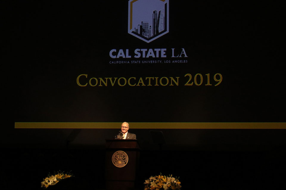 President Covino speaks at the 2019 Cal State LA Fall Convocation.