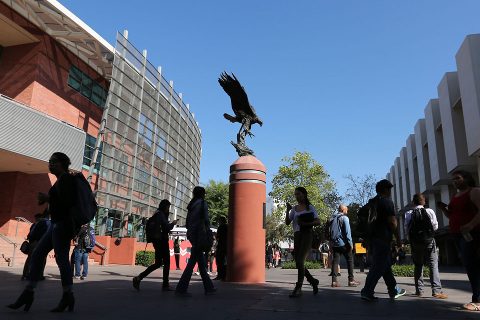 Golden eagle statue near the Cal State LA student union.