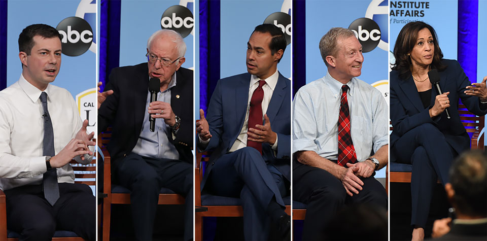 Demcratic presidential candiates speak at Cal State LA about Latino issues.