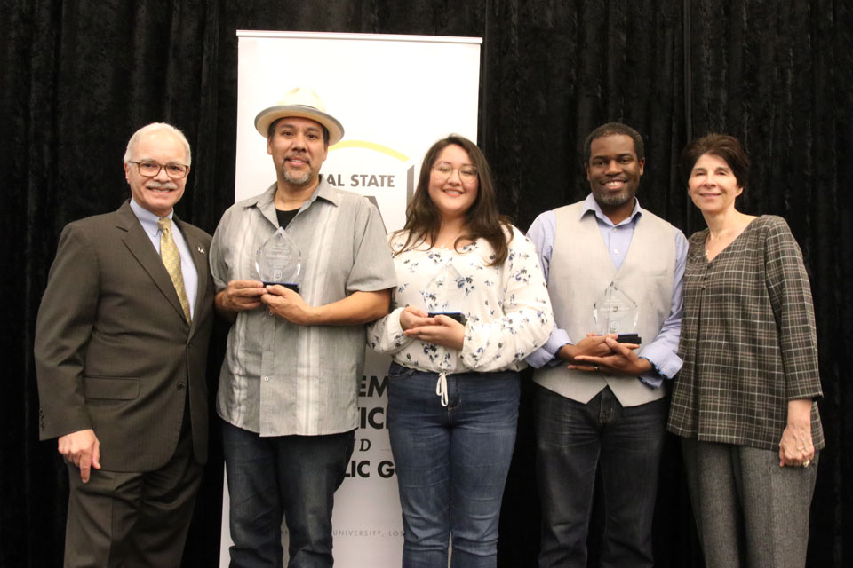 President William A. Covino; Mind Matters Champions: faculty member Roberto Alcaraz Jr., student Jhoanna Avelino, and staff member Christopher Johnson; and First Lady Debbie Covino.