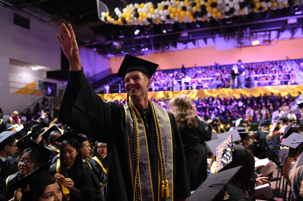 Cal State LA student at Commencement ceremony