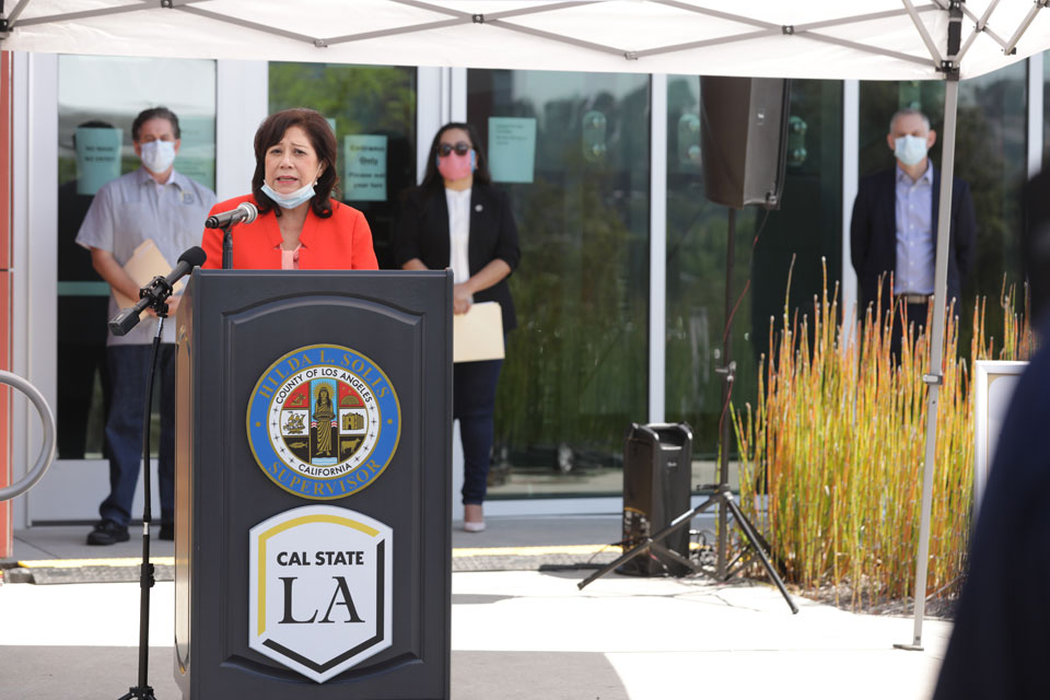 Supervisor Hilda L. Solis announces the opening of the new COVID-19 testing site at Cal State LA.