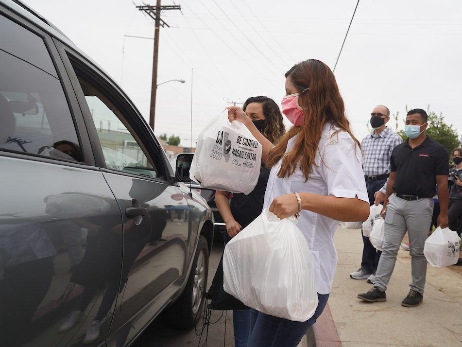 Cal State LA community volunteer at at the Achieve LA Food Drive.