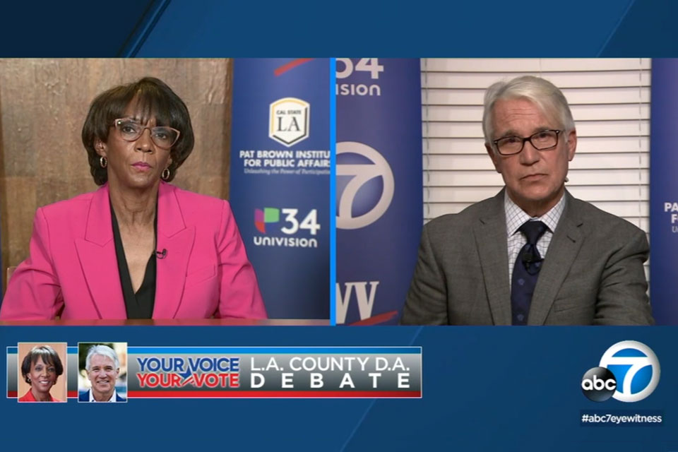 District Attorney Jackie Lacey and challenger George Gascón