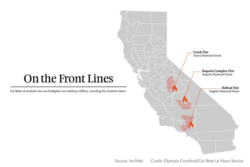 Diagram detailing locations of California wildfires in September 2020.