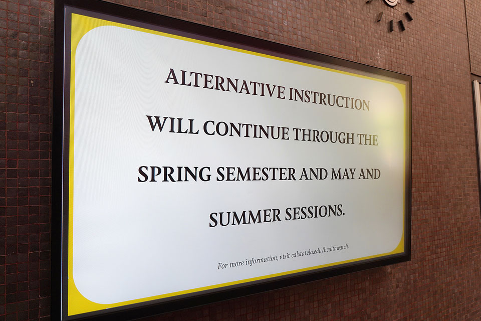 Campus Covid notice about alternative instruction