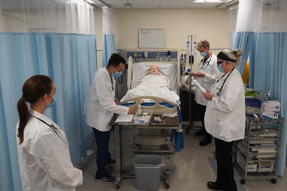 Cal State LA students receive hands-on experience in the nursing simulation lab.