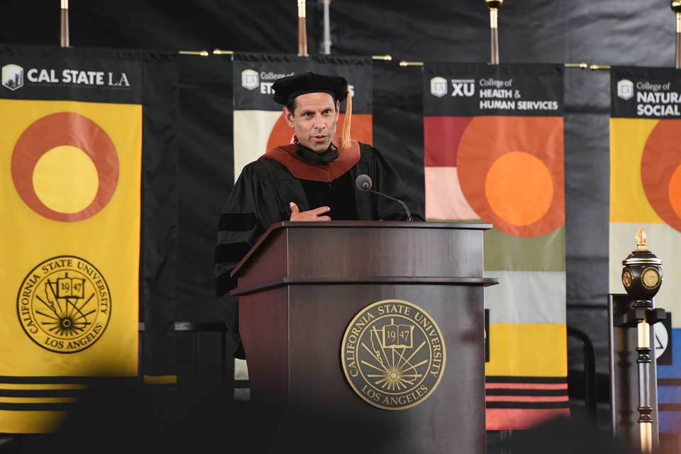 L.A. musician and activist José Quetzal Flores receives honorary doctorate at Cal State LA Commencement