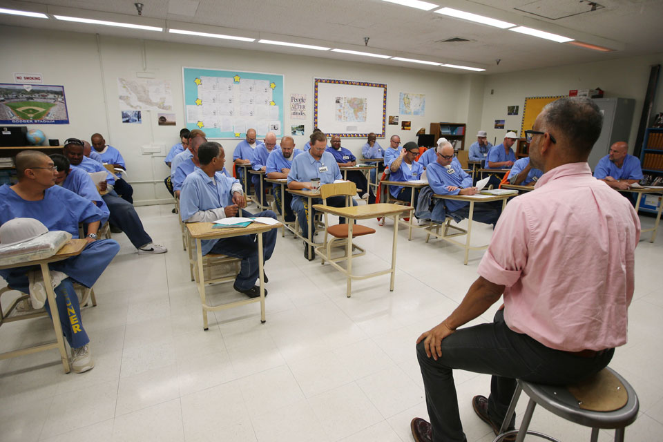 Cal State LA Professor Bidhan Chandra Roy instructing students inside California State Prison, Los Angeles County in Lancaster.