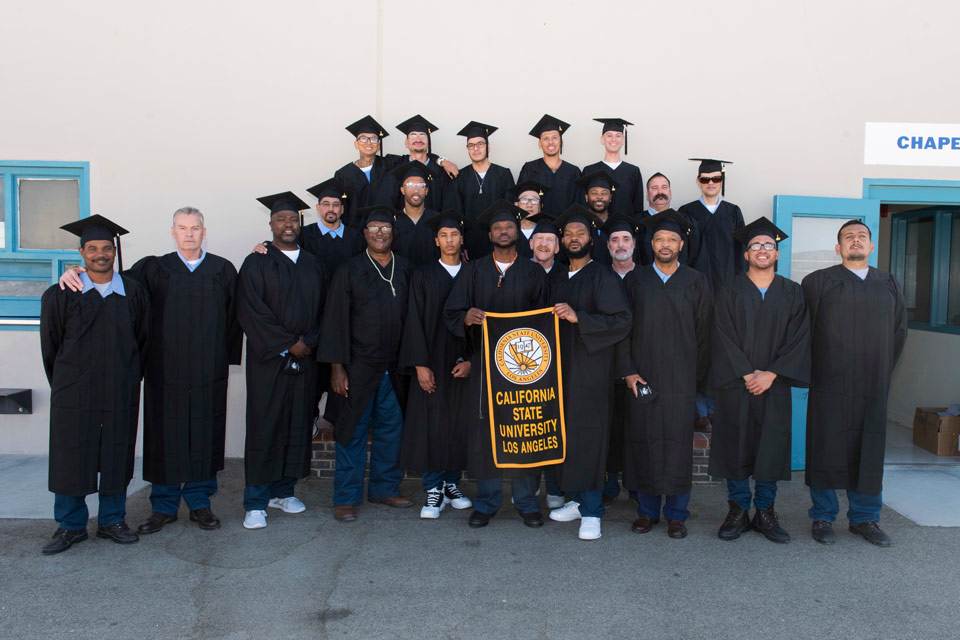 Graduates of Cal State LA's pioneering prison degree program celebrate earning their bachelor's degrees.